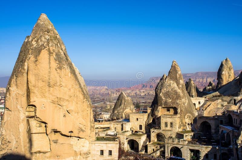 Goreme, pueblo muy único de Cappadocia, Turquía foto de archivo libre de regalías