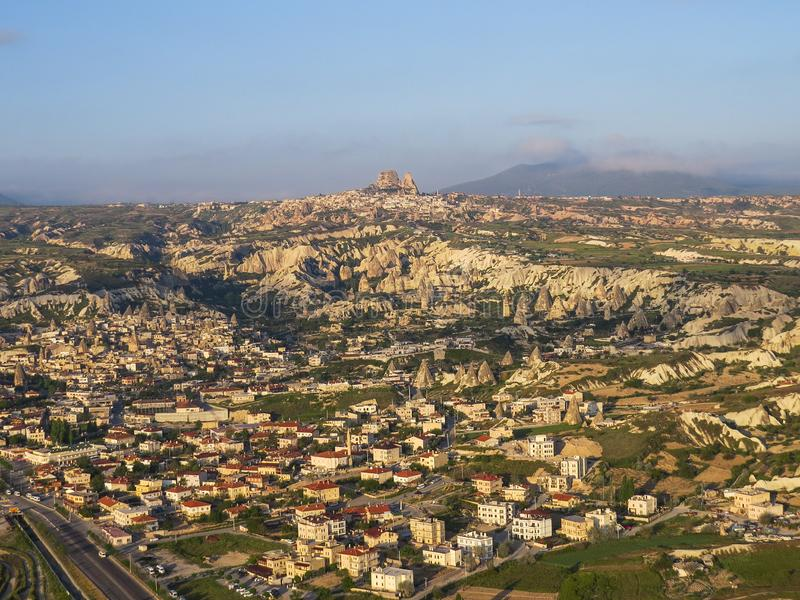 View of the village of Goreme and neighboring Uchisar from a bird`s-eye view stock images