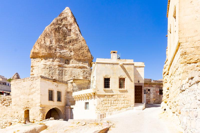 GOREME, TURKEY: Old rocks that serve as houses and hotels for tourists. Goreme is town in Cappadocia, Nevsehir Province stock images