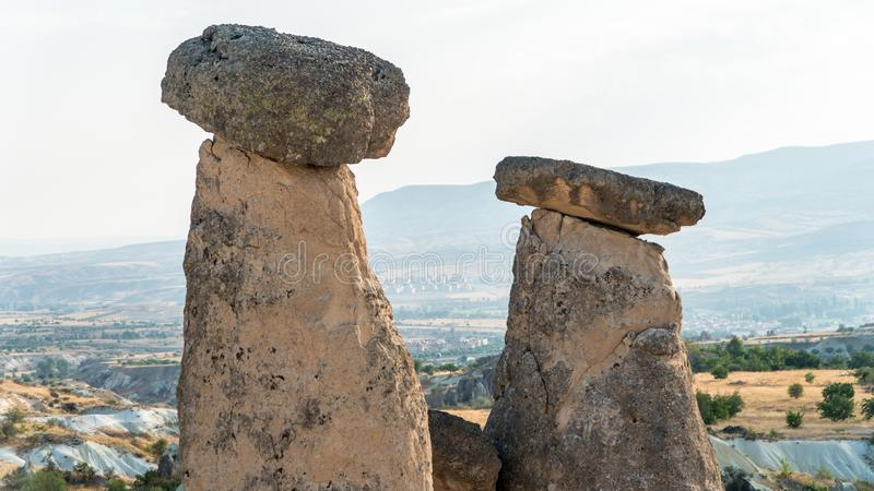 Goreme village, Turkey. Rural Cappadocia landscape. Stone houses of Cappadocia. royalty free stock photo