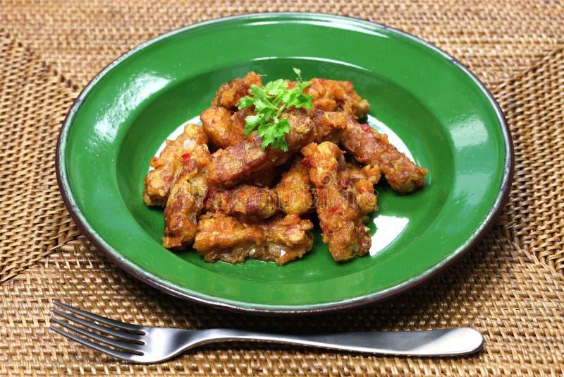 Goreng tempe, alimento indonesiano, alimento vegetariano di sambal fotografia stock
