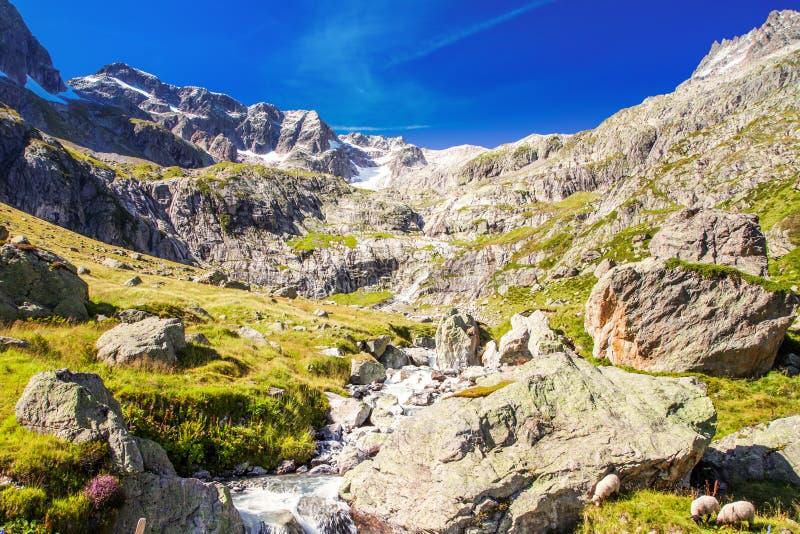 Gorezmettlenbach rzeka z Szwajcarskimi Alps Wandenhorn, Grassengrat i Chlo, Spannort na Sustenpass, Szwajcaria, Europa zdjęcia royalty free