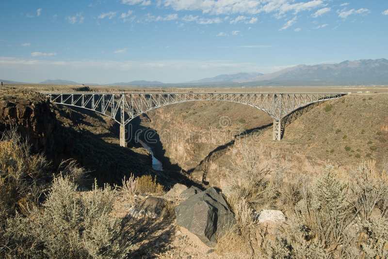 Gorge bridge. Over the Rio Grande River, north of Taos, New Mexico stock photo