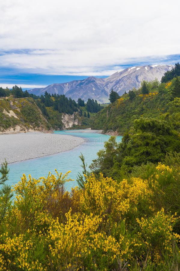 Gorge de Rakaia et Alpes du sud images libres de droits