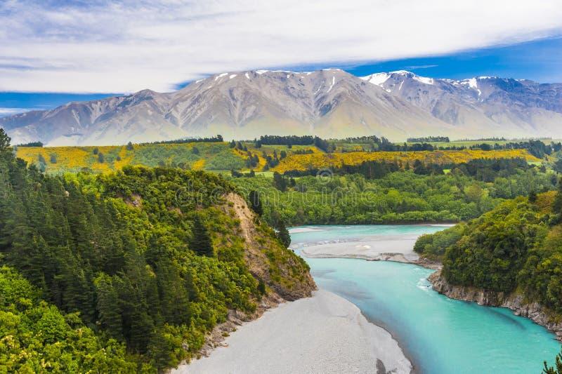 Gorge de Rakaia et Alpes du sud photos stock
