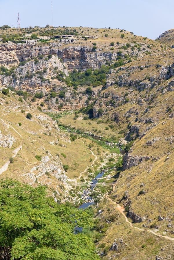 Gorge of the Gravina di Matera river. Basilicata, Italy stock photos
