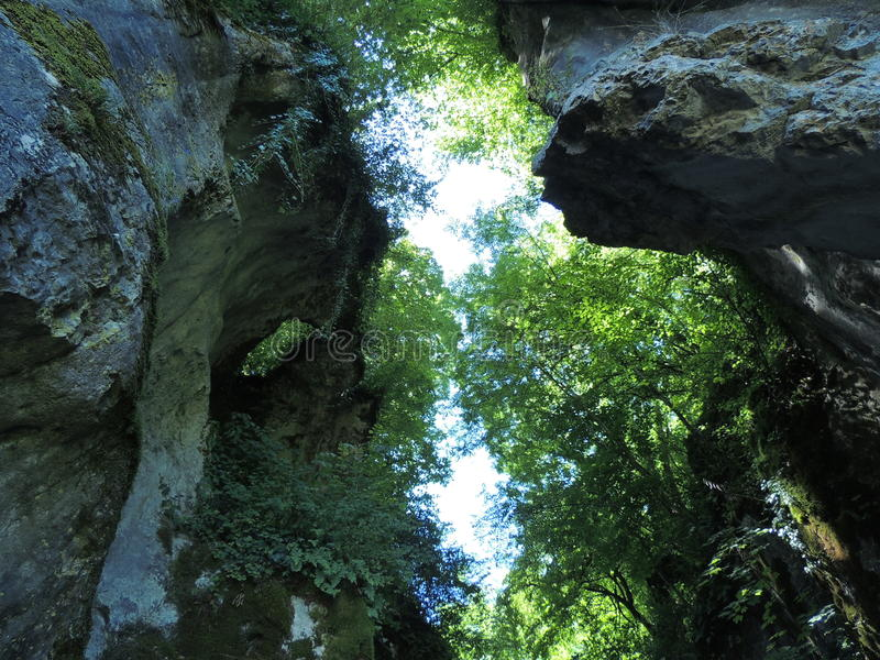 Gorge. From inside Gorges du Fier in France royalty free stock images