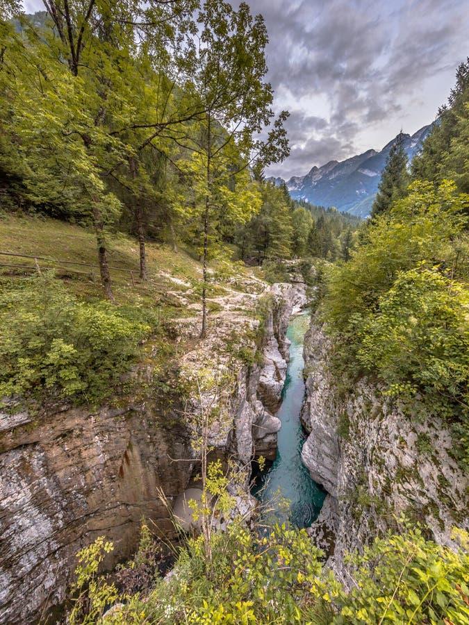 Gorge Slovénie de rivière de Soca photographie stock libre de droits
