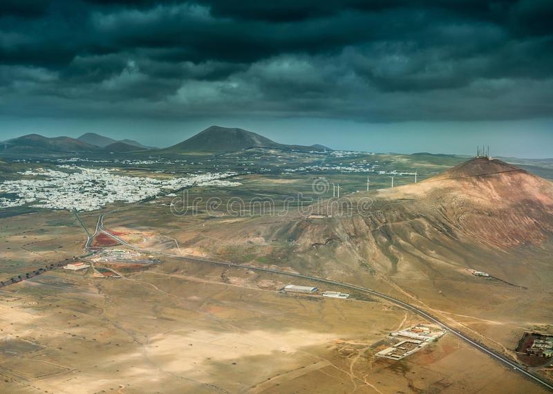 Gorgeous aerial view of mountains and valleys in Lanzarote stock image