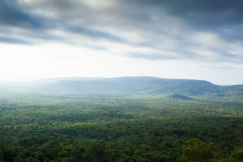 Gorgeous aerial view of Ta Phraya National Park on rainy morning stock image