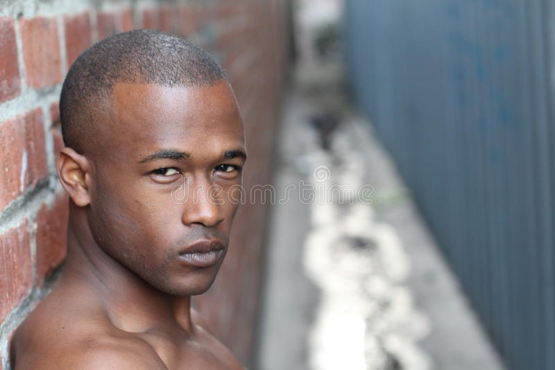 Gorgeous African man with a flawless skin stock image