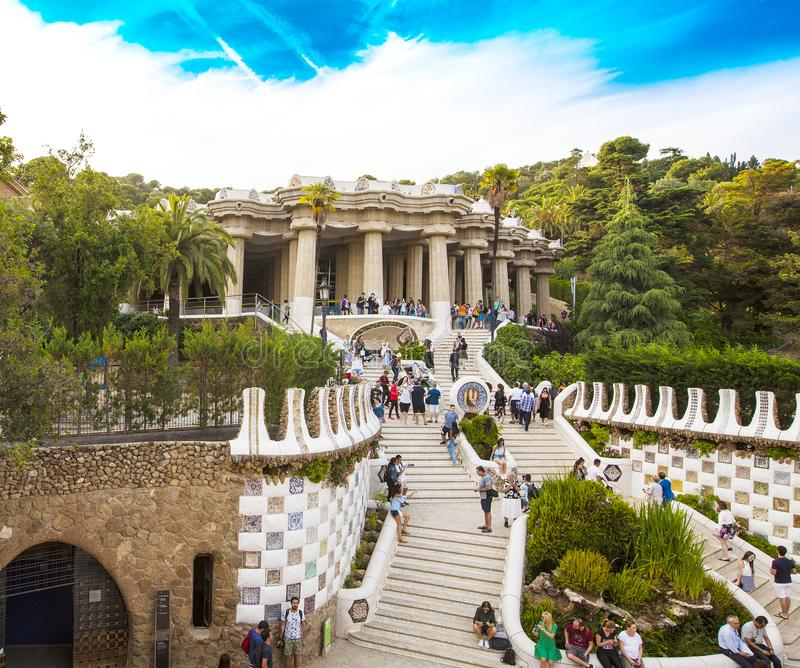 Gorgeous and amazing Park Guel in Barcelona stock photos
