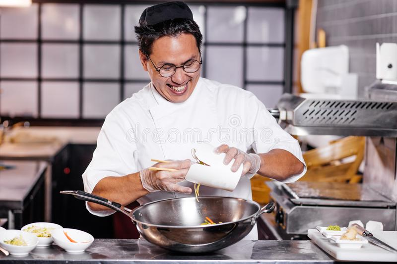 Unhappy Frustrated Chef Smelling Overcooked Dish Stock