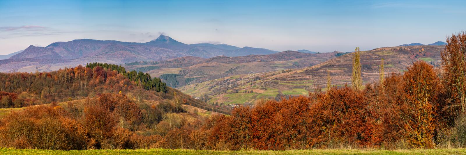 Gorgeous autumn countryside panorama in mountains royalty free stock image