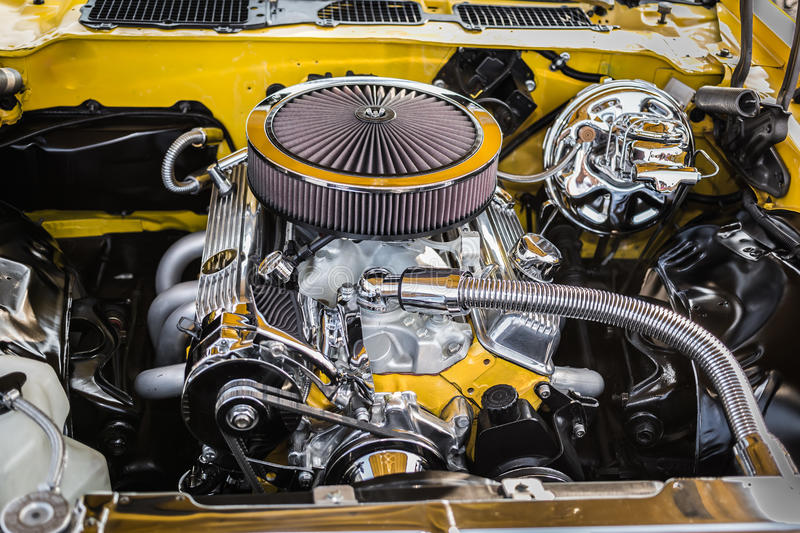 Gorgeous beautiful view of vintage classic retro car detailed engine and parts royalty free stock image