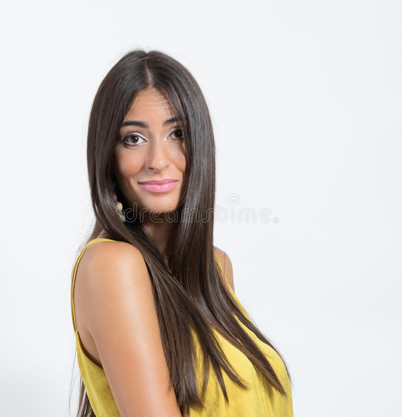 Gorgeous beauty with funny puzzled face expression looking at camera stock photography