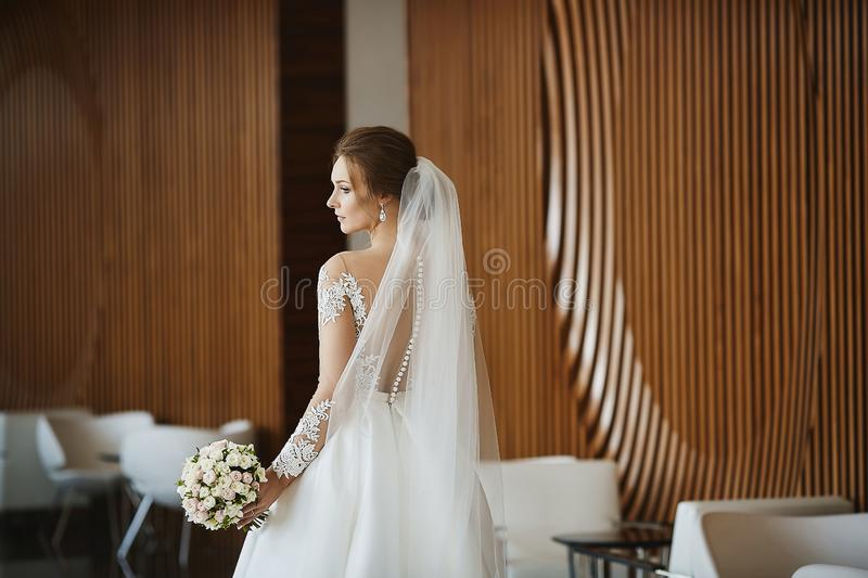 Gorgeous beauty portrait of a young bride. Beautiful bride with wedding hairstyle and makeup in a trendy dress with the royalty free stock image
