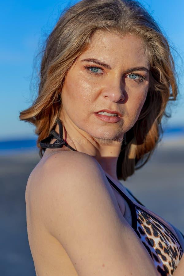 Beautiful Bikini Model Posing In A Beach Environment stock image