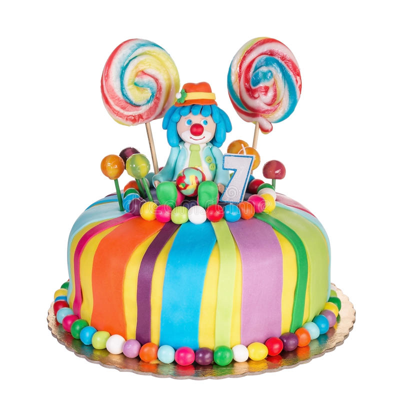 Gorgeous birthday cake for children. Colorful candy royalty free stock images