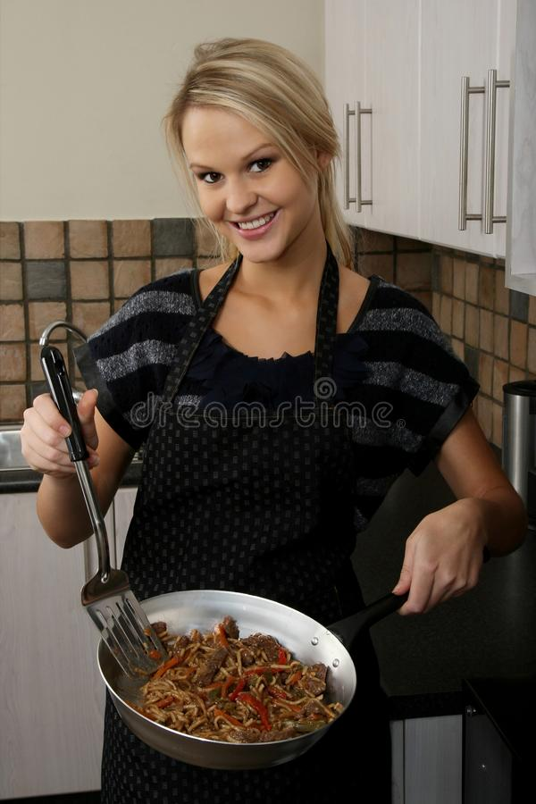 Happy Housewife Cleaning Kitchen Stock Photo - Image of ...