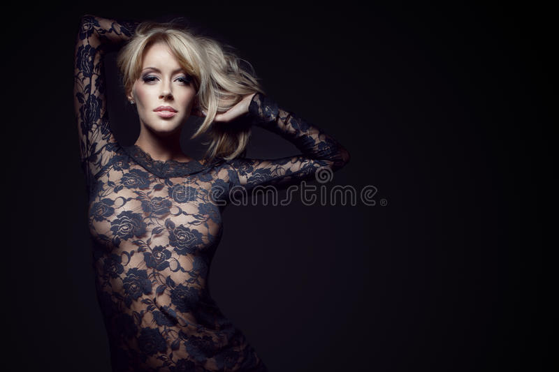 Gorgeous Blonde In Lace Dress Royalty Free Stock Photo