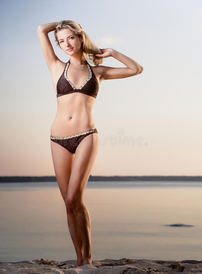 Gorgeous Blonde Model On The Beach Royalty Free Stock Image