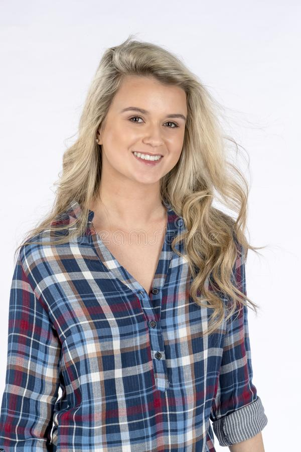Beautiful Blonde Model Posing In A Studio Environment royalty free stock photo