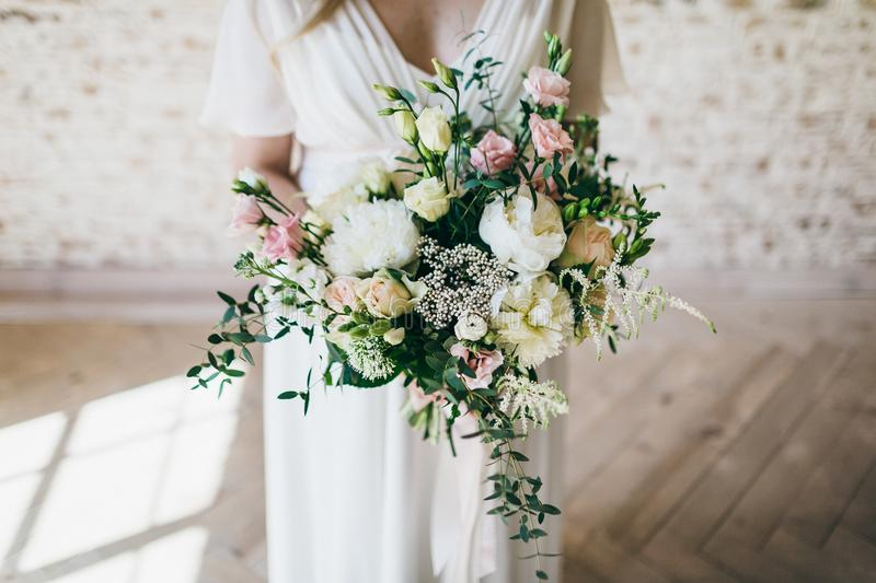 Gorgeous Bouquet Of White And Pink Flowers In The Hands Of The ...