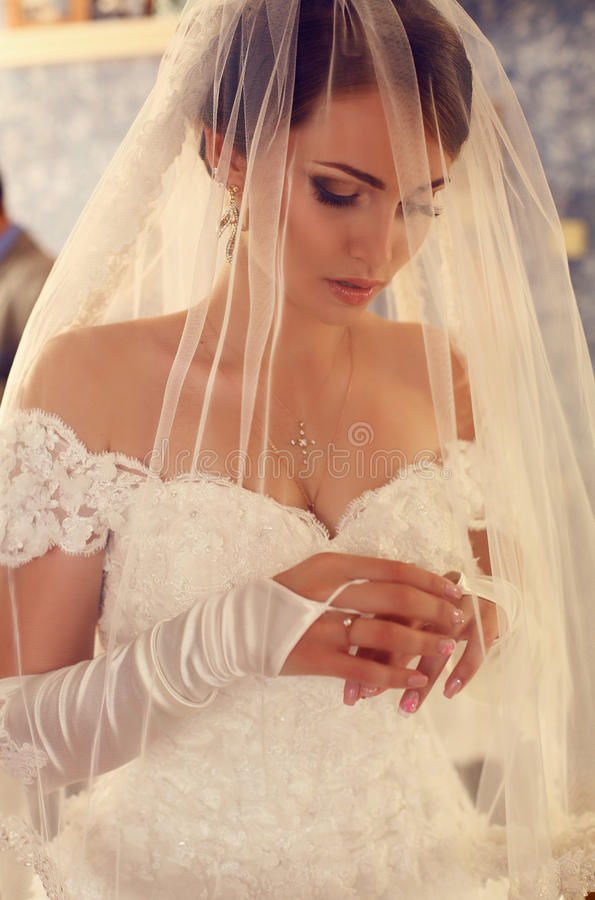 Gorgeous bride in luxurious wedding dress and veil stock photo