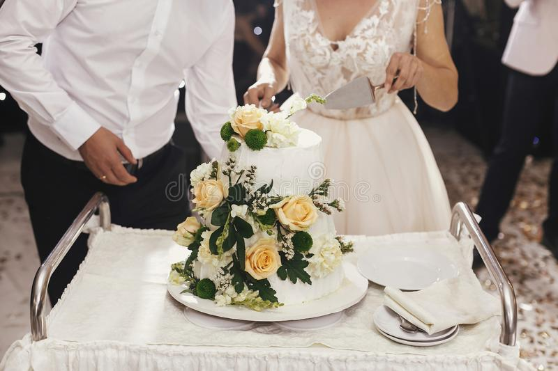 Gorgeous bride and stylish groom cutting together white wedding royalty free stock images
