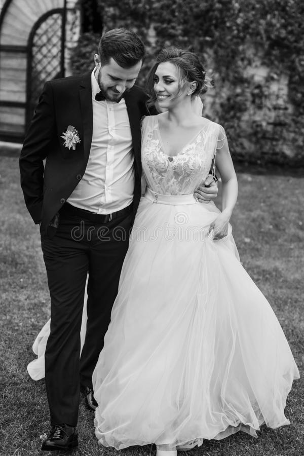 Gorgeous bride and stylish groom holding hands and walking at wa stock images