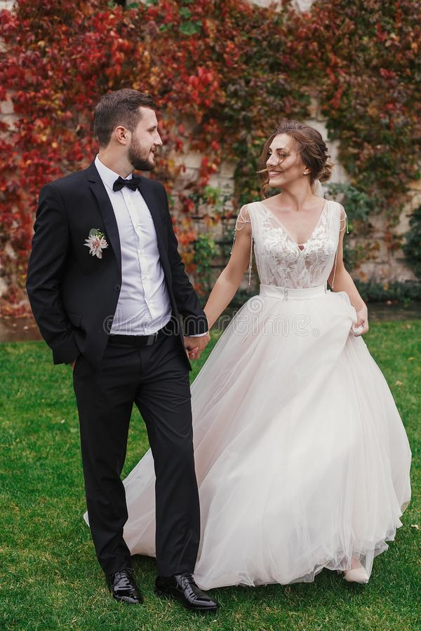 Gorgeous bride and stylish groom holding hands and walking at wa stock photo