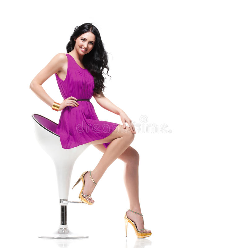 Download Gorgeous brunette on chair stock image. Image of style - 34622159