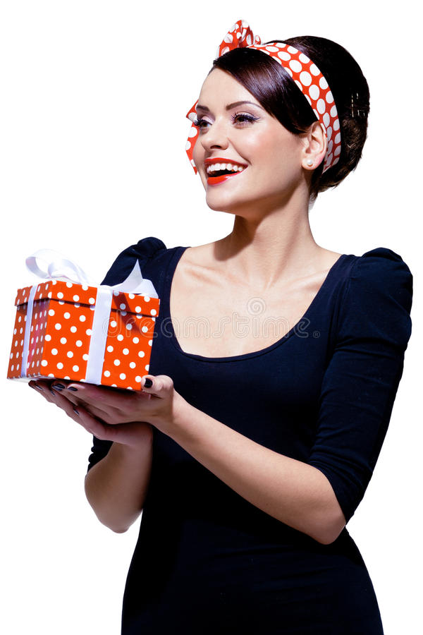 Download Gorgeous Brunette With Gift Box Stock Photo - Image: 28218176