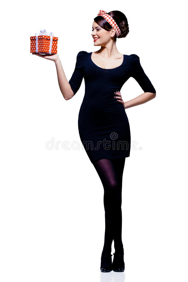 Gorgeous Brunette With Gift Box Royalty Free Stock Image