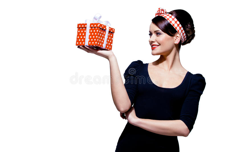 Download Gorgeous Brunette With Gift Box Stock Image - Image: 28218389