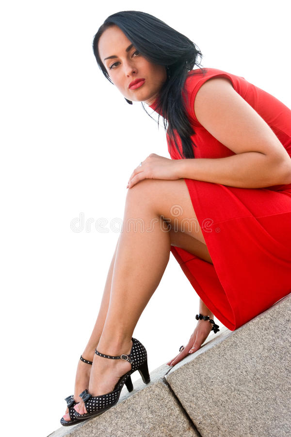 Download Gorgeous Brunette In Red Dress Stock Photo - Image: 14856716