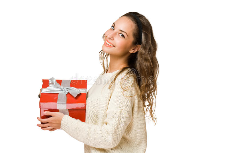 Download Gorgeous Brunette Woman Holding Red Gift Box Stock Image - Image of background, celebration: 27413373