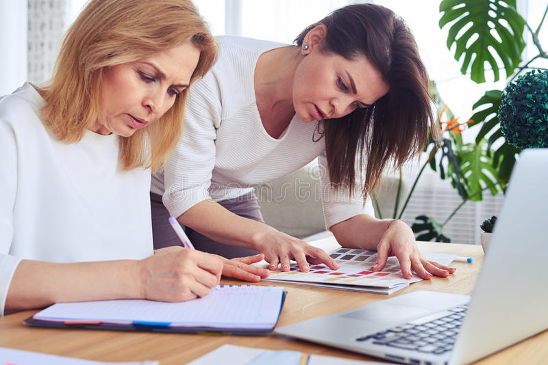 Download Gorgeous Businesswomen Working With Catalog Of Color Palette Stock Photo - Image of profession, talking: 92490778