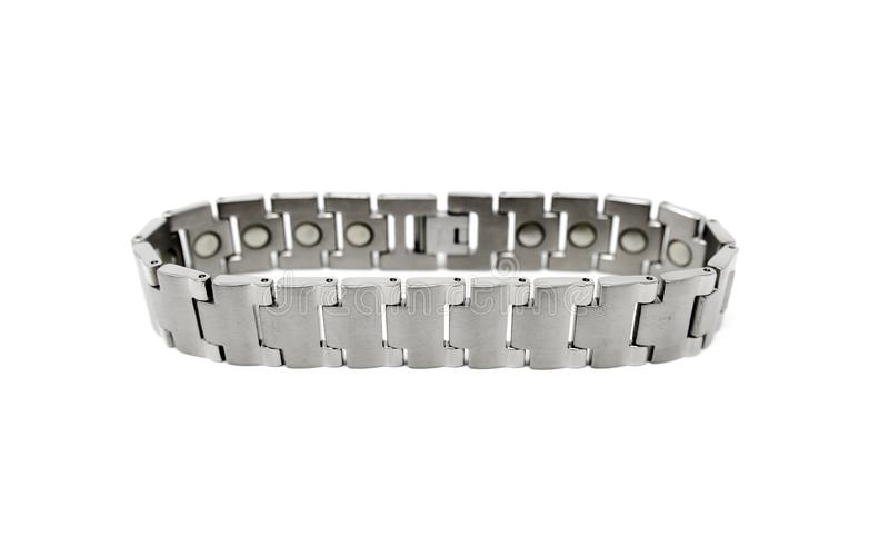 Stainless Steel Silver Gray Magnetic Bracelet royalty free stock photos