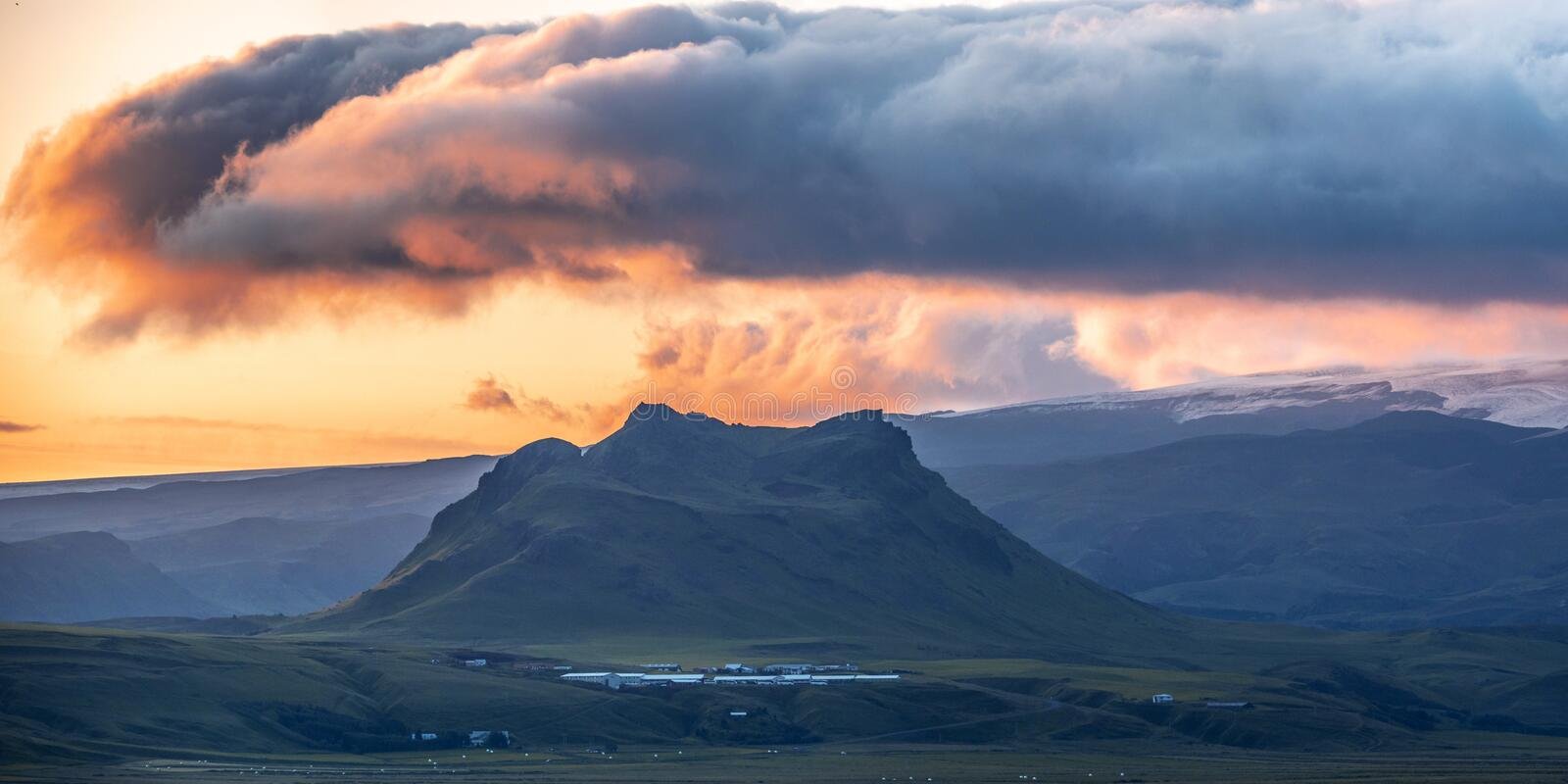 Gorgeous Colorful sunset over the mountain landscapes and waterfalls. Iceland stock image