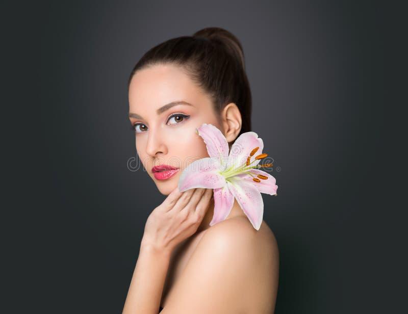Gorgeous cosmetics brunette stock photo