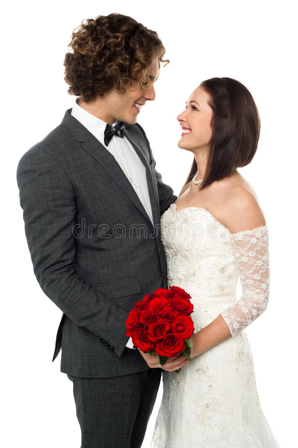 Gorgeous couple gazing into each others eyes royalty free stock photos