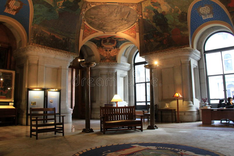 Gorgeous detail in painted ceilings and heavy furniture, The War Room, State House, Albany,New York,2016 royalty free stock image