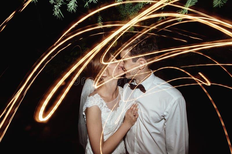 Gorgeous elegant happy bride and stylish groom on the background royalty free stock photos