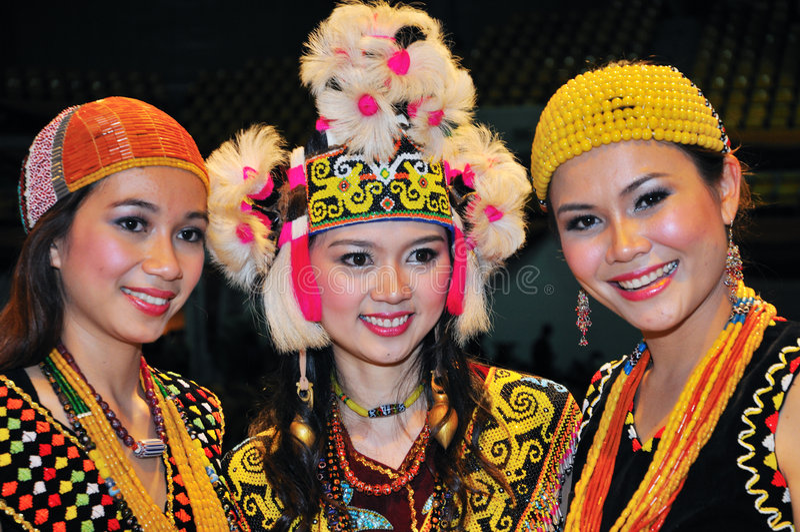 Borneo Women Beauties. The ethnic beauties of Borneo during Malaysia Gawai dayak Open House celebration in Kuching on 14th June,2008. Nikon D300. ISO 400 stock photo