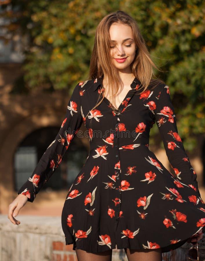 Gorgeous fashion brunette outdoors. stock photos