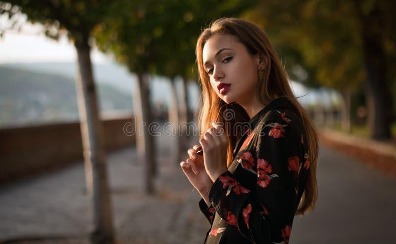 Gorgeous fashion brunette outdoors. royalty free stock image