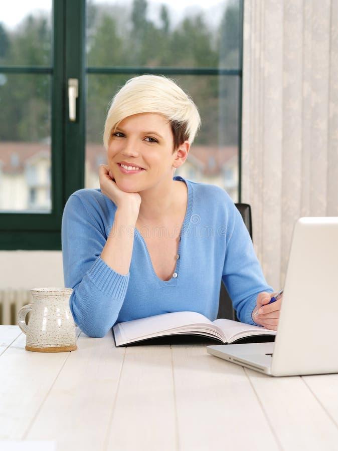 Gorgeous female working on laptop stock photos