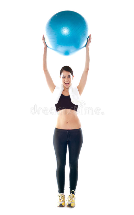 Gorgeous Fit Lady Holding Pilate Ball Royalty Free Stock Photos